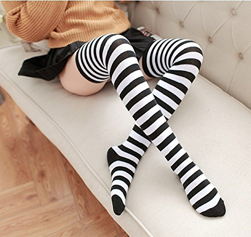 6b22a89bc Anime Multicolor Preppy Over Knee Mizore Shimakaze Stripe Stockings  (Black+White) at Amazon Women s Clothing store