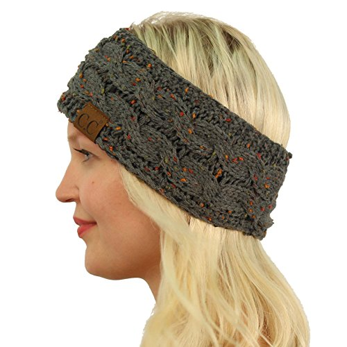 ca147d8e65501 Winter CC Warm Fuzzy Fleece Lined Thick Knit Headband Headwrap Hat Cap  Confetti Dk. Melange