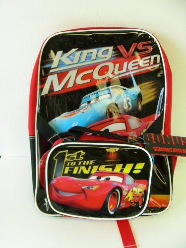 Disney Pixar CARS Backpack - Full Size King vs McQueen Back Pack with detacheable lunch - Vs King Mcqueen