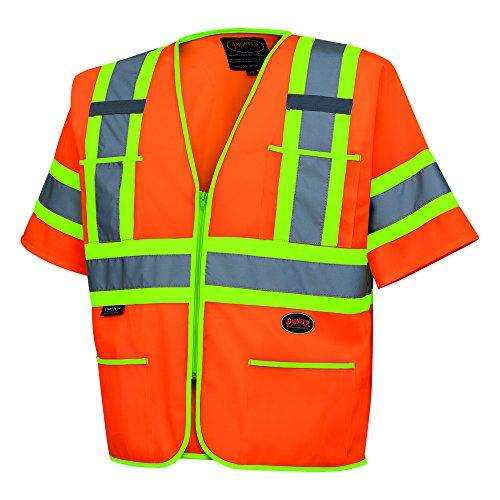 Pioneer V1023550U Hi-Vis Polyester Sleeved Vests - Orange (Medium)