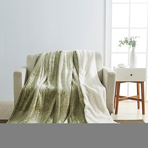All American Collection New Embossed Throw Blanket with Sherpa/Borrego Backing Queen/King Size (Sage/ L.Green) Green Floral Blanket