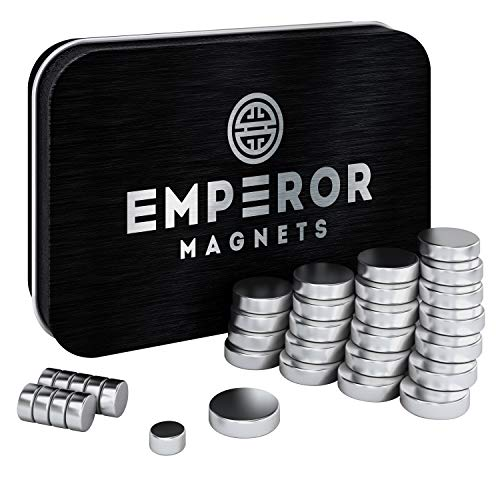 Emperor Magnets (30 pieces) - Super Strong Refrigerator Magnets | Mini Powerful Fridge Magnets | 10 Small + 20 Large Round Magnets | Metal Silver Finish Ideal For Office Whiteboard, Dry Erase Board