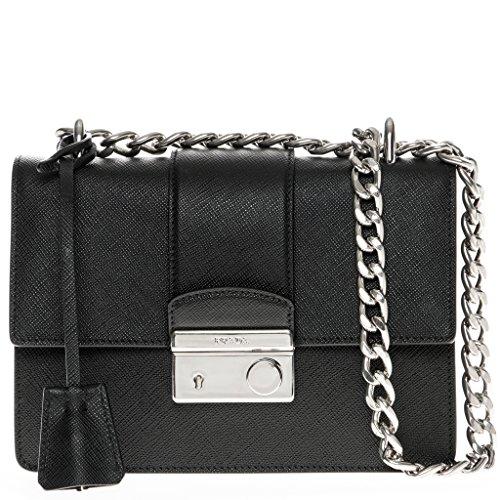 Prada Women's Saffiano Chain Shoulder Bag Black