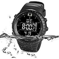 PALADA Men's All Black Sports Digital Wrist Watch Electronic Quartz Movement Military Time LED Backlight Watches