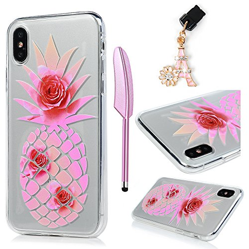 iPhone X Case, MOLLYCOOCLE 3D Emboss Printed Colorful Painting Pattern Crystal Clear Soft TPU Silicone Rubber Ultra Slim Fit Lightweight Shockproof Anti-Slip Grip Skin Shell for iPhone X, Pineapple