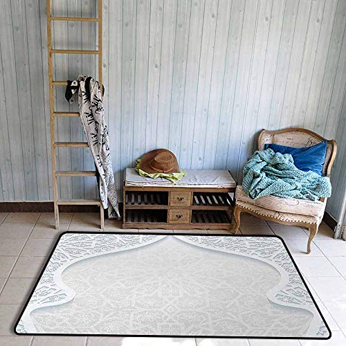 (Door Rug Area Rug Light Blue Arabesque Style Arched Royal Persian Figure with Floral Cultural Graphic Design Easy to Clean W47 xL71 Light Blue)
