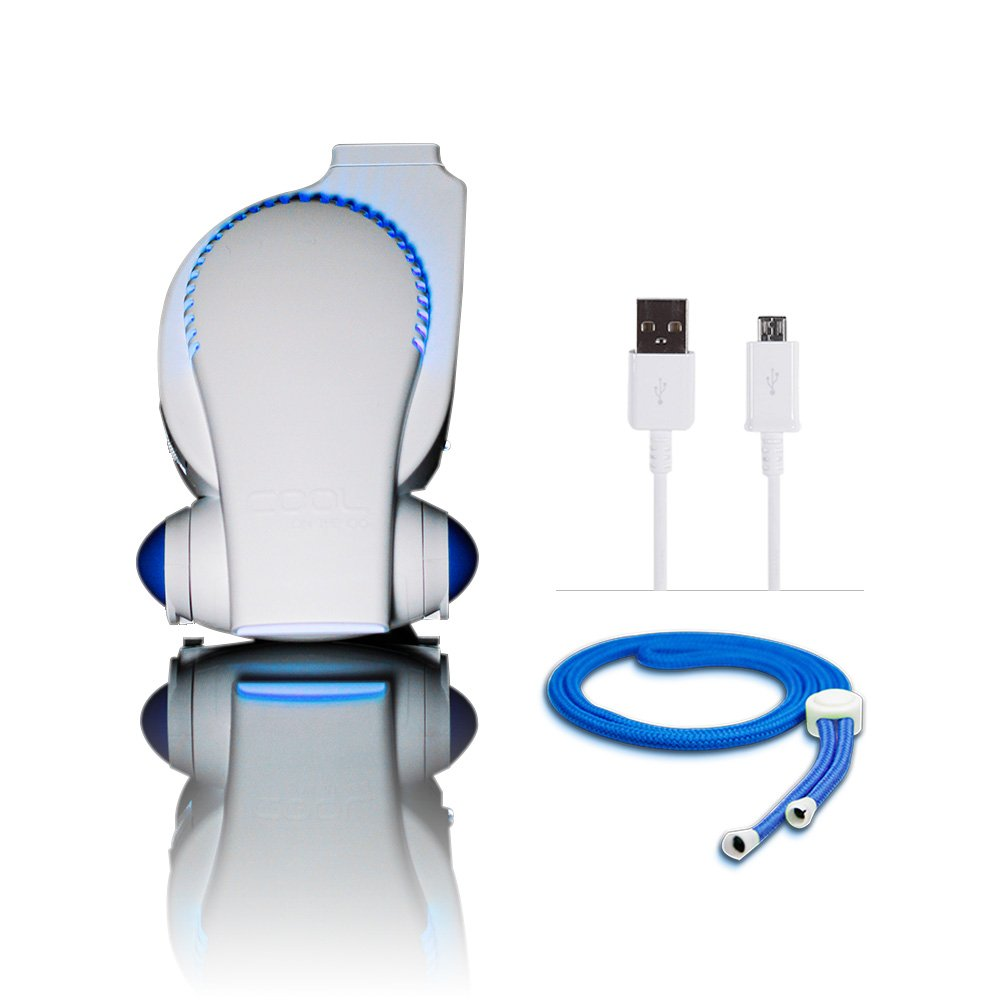 Cool On The Go! Personal Clip On Fan with LED Lights - Versatile Hands-Free Personal Cooling Device - USB Fan/Stroller Fan/Table Fan/Travel Fan/Wearable Fan/Tent Fan/Fan & More. Blue/White by COOLGO