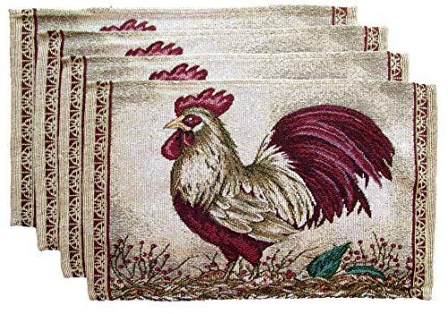 Farm to Table Woven Tapestry Place Mats - Roosters on Barn Board (Maroon Feathered Rooster on -