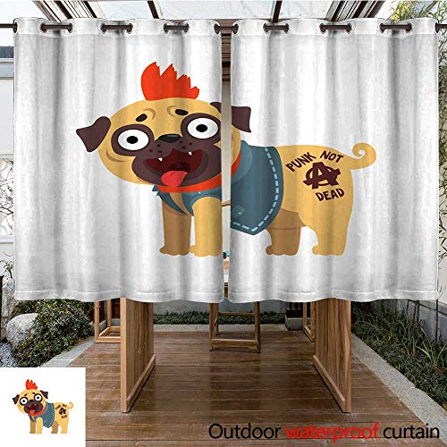 RenteriaDecor Outdoor Curtain for Patio Funny Pug Dog Character in a Punk Rocker Costume Vector Illustration on a White Background W108 x -