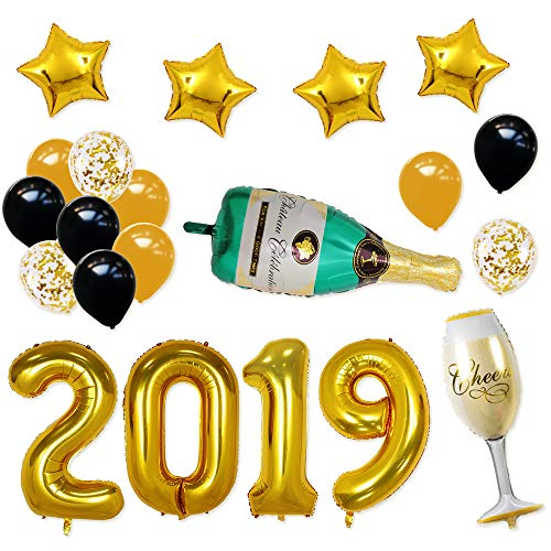 (BALONAR 40INCH 2019 Gold Happy New Year Banner Champagne Bottle and Flute Gold Confetti Balloons with 12inch Latex balloons Party Decorations)