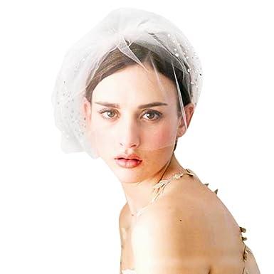 Moonlove Voile Mariée Voile Court de Mariage Accessoire Cheveux Mariage  Coiffure Mariage Pince à Cheveux de