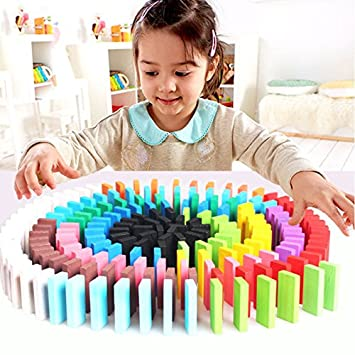 120pcs Domino Wooden Kids Toys Dominoes Building Blocks Set Racing Game Play Set Educational Toy for Children 10 color New Sky Tech