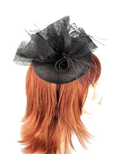 Black Sinamay Circular Curved Disc Hair Fascinator finish...