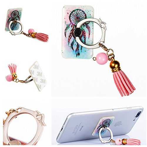 Phone Ring Stand Holder,HAOTP [Removable] 360 Degrees Phone Grip kickstand Heart and Tassel Finger Holder for iPhone X 8 8 Plus,Galaxy Note 8,Almost All Cases/Phones Blue Dream Catcher Mandala Flower