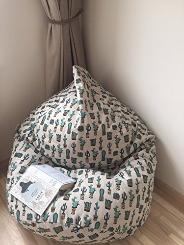 Cactus Beanbag Natural Linen Bean Bag Chair Cover Teens Room Decor Mexican Style With Insert Filling