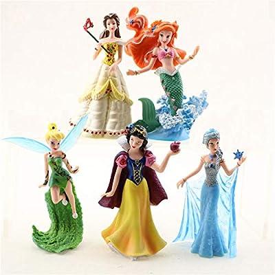 Princess Action Figure Play Set, Cartoon Favorite Princess Figures, Disney Princess Figures, Favorite Moves Princess Set, Belle, Ariel, Tinker Bell, Snow White, Elza Birthday Cake Topper (Set of 5)