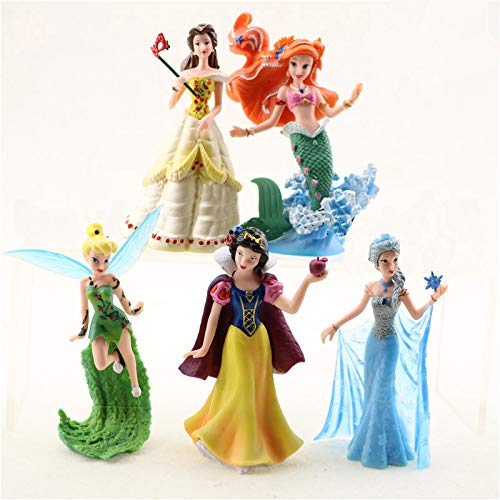 Princess Action Figure Play Set, Cartoon Favorite Princess Figures, Princess Action Figures, Favorite Moves Princess Set, Belle, Ariel, Tinker Bell, Snow White, Elza Birthday Cake Topper (Set of 5) -
