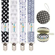 Babygoal Baby Boy Pacifier Clips with Pacifier Case, 4 Pack Metal Teething Clips & Baby Shower Gift Fits All Pacifier Styles