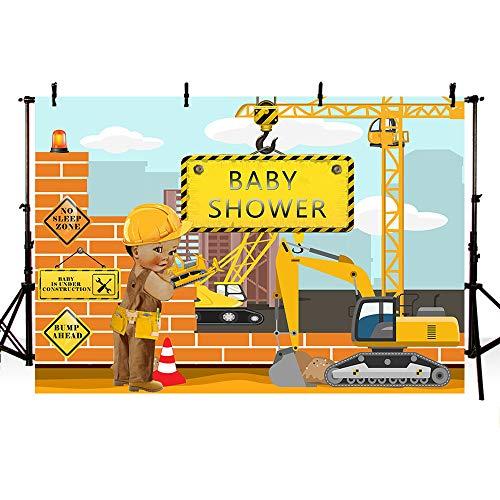 - MEHOFOTO 7x5FT Construction Theme Boy Baby Shower Backdrop Bricks Builder Dump Trucks Boy Banner Party Decorations Supplies Photography Background Photobooth Props