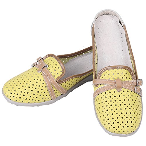 Slip Backless On Women's Hollow Mules Yellow Casual Loafers Moccasins Leather 1UFqHX
