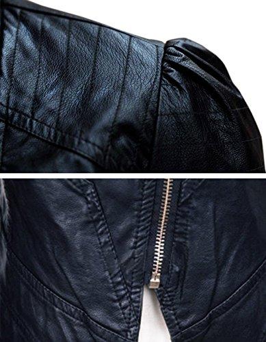 zippe Jacket Biker Femme Blouson faux Court Veste Slim Fit Motard Moto cooshional cuir 7qCt4xwx