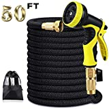 XBUTY 50ft Garden Hose, Expandable Water Hose 9 Pattern Spray Nozzle,High Pressure Extra Strength Fabric Double Latex Core 3/4