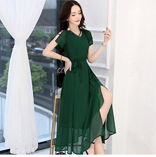 Corta Di Manica Scollo Verde `s Vestiti Solido Cotyledon Donne Delle Ol Colore 7HqwxTnz6