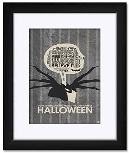 Northwest Art Mall The Nightmare Before Christmas, OUR TOWN OF HALLOWEEN Framed & Matted Art Print by Stephen Poon. Print Size: 9