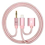 iPhone 7 Car Aux Cord, UNOOE Lightning to 3.5mm Aux Audio Cable 3ft Male to Male Auxiliary Cable with Extender Charger Adapter Cord for Car Home Stereo Hi-Fi Speaker (Rose Gold)