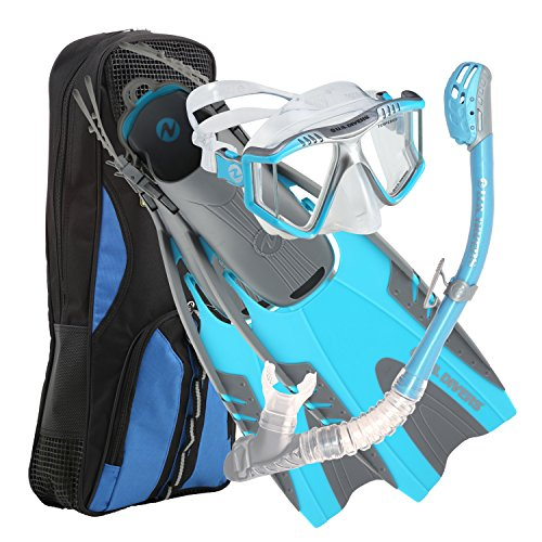 U.S. Divers Men's Lux LX Mask with Purge, Pivot Fins and Phoenix LX Snorkel Combo Set, Small/Medium, Aqua