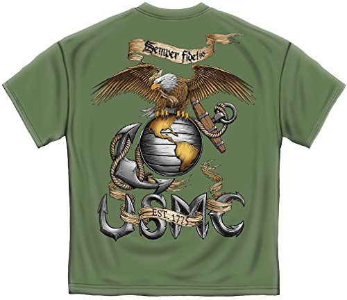 US Marine Corps Short Sleeve Shirts, 100% Cotton Casual Mens Shirts, Show Your Pride With Our Eagle USMC Unisex T-Shirts for Men or Women (Green, - Work Clothes Eagle