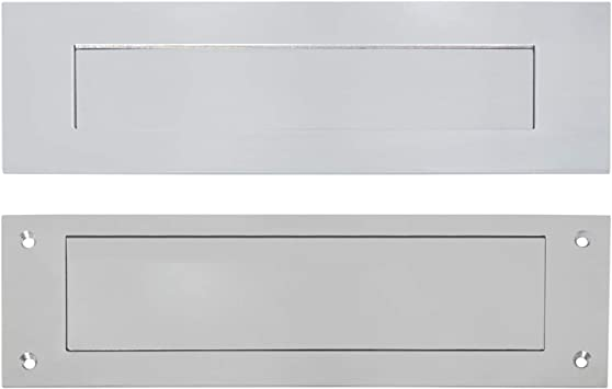 Durabox Through The Door Mail Slot Letter Box Plate, Stainless Silver