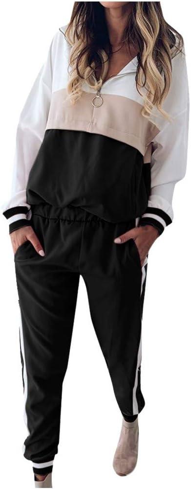 BXzhiri Women Outfits Tracksuit Sweatshirt Pants Sets Sport Long Sleeve Patchwork Wear Casual Suit Sets