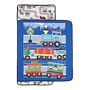 EVERYDAY KIDS Toddler Nap Mat with Removable Pillow -Choo Choo Train- Carry Handle with Fastening Straps Closure, Rollup Design, Soft Microfiber for Preschool, Daycare, Sleeping Bag - Ages 2-4 Years