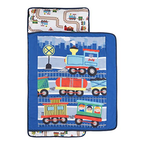 Everyday Kids Toddler Nap Mat with Removable Pillow -Choo Choo Train- Carry Handle with Fastening Straps Closure, Rollup Design, Soft Microfiber for Preschool, Daycare, Sleeping Bag - Ages 2-6 Years