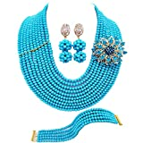 laanc 10 Rows Fashion Costume African Beads Jewelry Set Nigerian Wedding Bridal Jewelry Sets for Women (Opaque Blue)