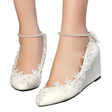 817e9f946c21 getmorebeauty Women s Wedge Flowers Pearls Mary Janes Wedding Bridal Shoes  5 B(M) US