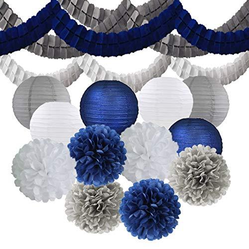 15PCS Mixed Navy Blue Gray White Decorative Tissue Paper Pom Pom + Streamers Garland + Paper Lantern Nautical Themed Vintage Wedding Bridal Shower Birthday Baby Shower Nursery Decor -