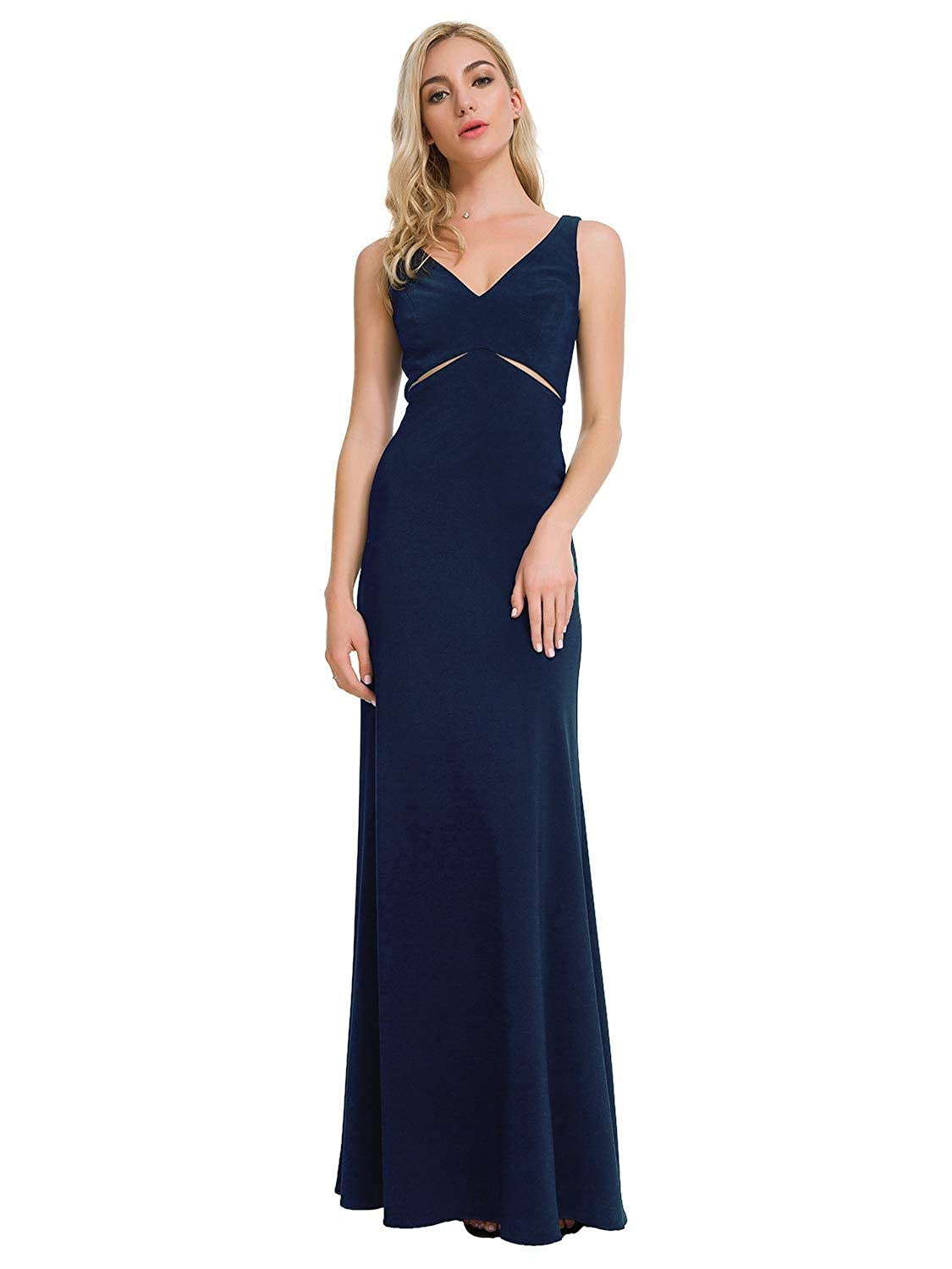 Dark Navy Alicepub VNeck Evening Gowns Women Long Formal Dresses for Party Prom Speacial Occasions