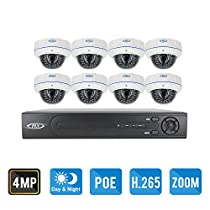 PLV 8CH H.265 4MP POE NVR Security System with 8pcs 4MP 1520p 2.8-12mm Motorized Zoom Weatherproof Dome IP Cameras, No HDD