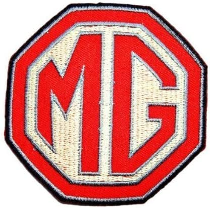 MG RED WITH WHITE BACKING SEW ON EMBROIDED BADGE  *** .Bive.