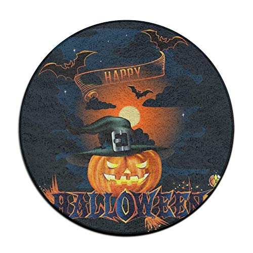 (WENEOO LA Happy Halloween Poster Decor Anti Slippery Doormats Soft Coral Velvet Pads (23.6 Inch) Welcome Mat Round Area)