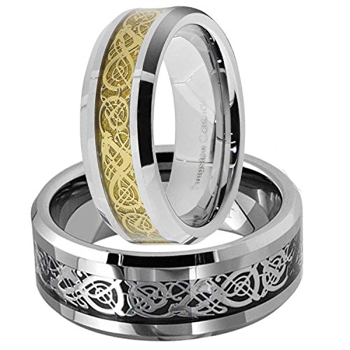 His And Hers Wedding Ring Sets 8mm Tungsten Ring Gold/White Dragon Scroll Inlay Bride & Groom Sets