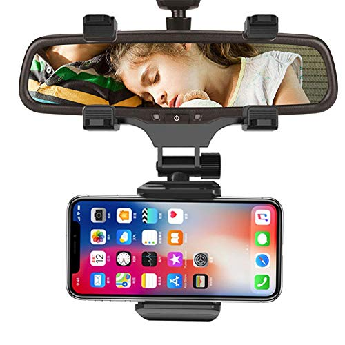 (Giosio Universal Car Truck Rearview Mirror Mount Cell Phone Clip Stand Bracket 360 Degree Hanging Mobile Phone Holder Compatible with iPhone X/XS/XR/XS Max/8/8 Plus,Galaxy S10,S9,S8,Note 9 & any Phone)
