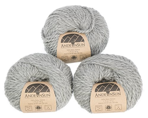 Alpaca Chunky Yarn - 100% Baby Alpaca Yarn (Weight #5) Bulky, Chunky, Craft - Set of 3 Skeins 150 Grams Total- Luxurious and Caring Soft for Knitting and Crocheting - Light Gray #5 Bulky