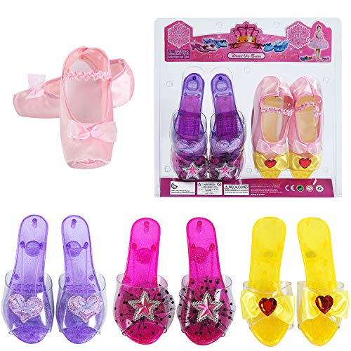 (fedio Girls Princess Dress up Shoes 4 Pairs Role Play Collection Play Shoes Set for Little Girls Age 3-6 Years (4)