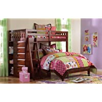 Twin Over Full Loft Bed and Entertainment Dresser in Merlot Finish