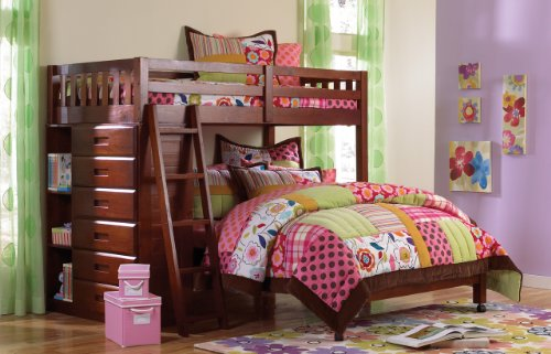 Cheap Discovery World Furniture Twin Over Full Loft Bed in Merlot Finish