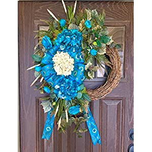 Large Grapevine Wreath Turquoise Metallic Hydrangea Spring Summer Flowers