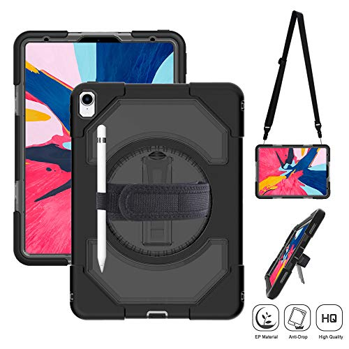 iPad Pro 11-inch 2018 Released Case with Pencil Holder, Heavy Duty Armor Carrying Shockproof Case with 360 Degree Rotating Stand, Adjustable Hand Strap Shoulder Strap for iPad Pro 11 inch (Black)